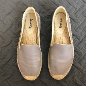 SOLUDOS LEATHER PLATFORM SMOKING SLIPPER ESPADRILL